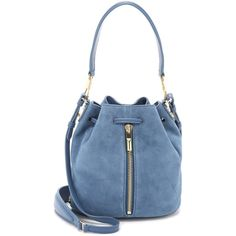 Elizabeth and James Cynnie Mini Bucket Bag ($450) ❤ liked on Polyvore featuring bags, handbags, shoulder bags, denim, leather purse, blue purse, blue leather handbag, blue leather purse and genuine leather handbags