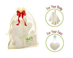 LIMITED SPECIAL Exfoliating Set  2 Pairs Body Wash  Scrub Gloves for BathShower  White 100 Natural Konjac Face Sponge  Best for Deep yet Gentle Facial Cleansing for All Skin Types ** Read more reviews of the product by visiting the link on the image.
