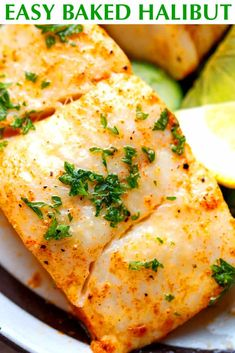 Fat Loss Vegan The Easiest Baked Halibut recipe - quick to make, juicy, flavorful and delicious weeknight dinner paired with veggies or salad Best Halibut Recipes, Easy Halibut Recipe, Fish Recipes, Seafood Recipes, Cooking Recipes, Healthy Recipes, Recipies, Baked Fish, Halibut Baked