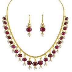 Jpearls Ruby Drop Gold Chain Set, Pearl Drop Earrings