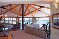 "Due to the ""no need"" for load-bearing walls Topsider Homes panelized post & beam building-system allows for open concept living space with maximum view #prefab #whataview"
