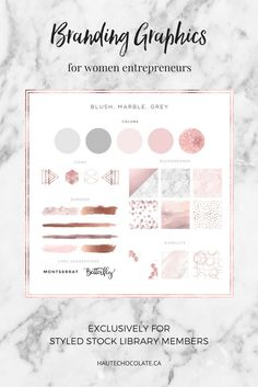 exclusive branding graphics for women entrepreneurs from the haute chocolate styled stock library.