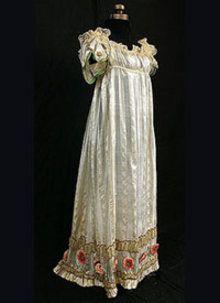 1810 - 1814 silk dress with metallic trim - Courtesy of vintagetextile.com