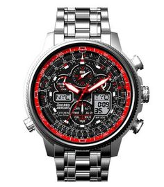 Citizen Gents Red Arrows Limited Edition Navihawk A-T Watch. Black analogue dial with digital displays and red details and official Red Arr...