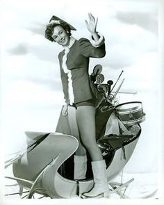 Ruth Roman in the smallest sleigh I've ever seen