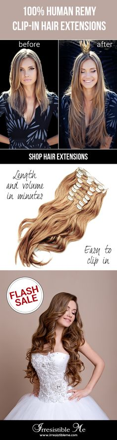 Make a dramatic hairstyle change with Irresistible Me human Remy clip-in hair extensions. You can add length and volume in a matter of minutes and you get to choose the color, length and weight. Hair Extensions Before And After, Clip In Hair Extensions, Trendy Hairstyles, Wedding Hairstyles, Hair Extension Care, Locks, Corte Y Color, Natural Hair Styles, Long Hair Styles