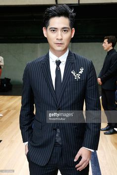 Actor Vic Chou attends the Dior Homme show as part of the Paris Fashion Week Menswear Spring/Summer 2015 on June 2014 in Paris, France. South Corea, Vic Chou, Nike Bags, Men Hairstyles, 90s Kids, Spring Summer 2015, Bellisima, Male Models, Menswear