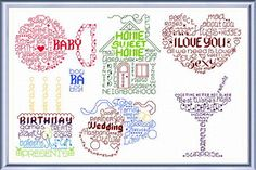 Lets Make Greetings cross stitch pattern. These designs were originally published in a UK Cross Stitch magazine (possibly World of Cross Stitching), I've stitched some of them and they are very effective particularly on hand dyed fabric