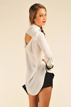 Cathy Studded Collar Top - White @ Necessary Clothing with 20% off