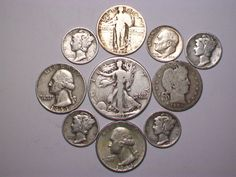 """Item specifics   Seller Notes: """"90% SILVER ASSORTMENT ~ HALF ~ QUARTERS ~ & ~ DIMES ~ 1904-1964 ~ NICE COINS ~ SOME MINT MARKS!""""       Composition:   Silver   Mint Location:   Various     Material:  ..."""