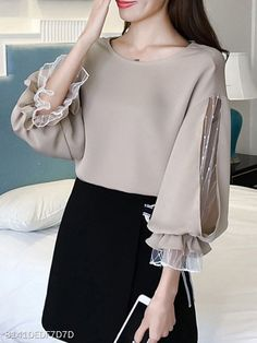 Round Neck Patchwork See Through Plain Puff Sleeve Blouses - Blouse designs Look Fashion, Hijab Fashion, Fashion Dresses, Fashion Boots, Womens Fashion, Mode Outfits, Skirt Outfits, Party Outfits, Sleeves Designs For Dresses