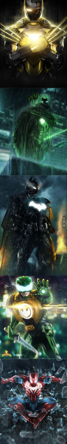 Superheroes Iron Suits. Spiderman looks pretty boss. << yeah he does!