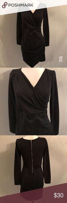 NWOT Trouve Long sleeve black dress New without tags, never worn, Trouve perfect little black dress. Cinched in the right areas, long sleeves. Exposed back zipper. Size small Trouve Dresses Mini