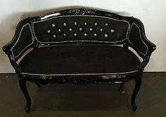 Hollywood Regency Black French Sofa Lounger Chesterfield Loveseat Bridal | eBay
