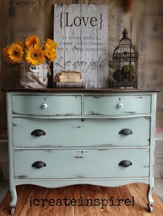 I love this dresser ... but also the beautiful First Corinthians 13 sign.
