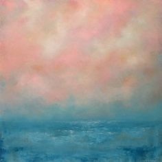 Pink and Blue Abstract Seascape 24 x 24 Ocean by traceynicholas