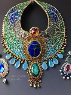 Diosa egipcia  listo para nave  escarabajo egipcio Collar