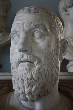 A marble bust of Roman emperor Macrinus, r. 217-218 CE. (The Vatican Museums, Rome).