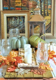 Fall decor with wood slices and Fall accent decor from MichaelsMakers Jennifer Rizzo