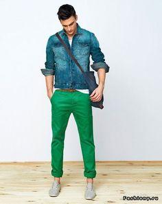 Denim Jacket + Green Trouser