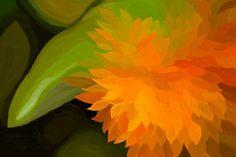 24x16 Orange Flower Digital Painting Fine Art by SensingMajesty  @sensingmajesty