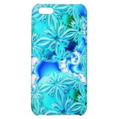 Blue Ice Crystals, Absract Aqua Azure Cyan Pattern iPhone 5C Covers