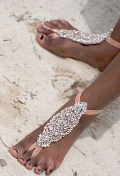 c78a6dad4fd4c0 Bridal Barefoot Sandals Rhinestone Foot Jewelry Beach wedding sandals  Sparkly Wedding Shoes