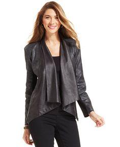 Style & Co. Open-Front Coated Mixed-Media Jacket - Jackets & Blazers - Women - Macy's