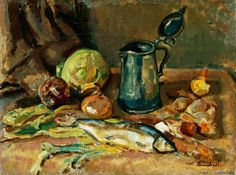 Enckell, Magnus - 1912 Still Life (Finnish National Gallery, Helsinki, Finland) Helene Schjerfbeck, Fra Angelico, Drawing School, Post Impressionism, Painting Still Life, Art Academy, Helsinki, Finland, Oil On Canvas