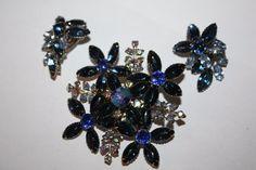 Vintage Brooch Juliana Rhinestone Montana Blue by patwatty on Etsy, $45.00