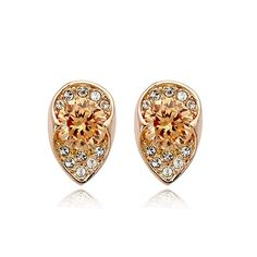 A burst of tangerine with pavé crystal sparkles radiate from these teardrop…