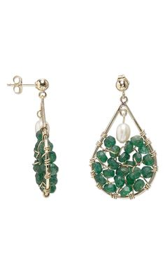 Earrings with Emerald Gemstone Beads, White Lotus™ Cultured Freshwater Pearls and Wirework