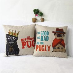 Cartoon Pug Dog Cotton Linen Cushion Cover – hellobaobao