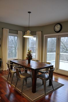 Eating area- Farmhouse table, Barn Light electric pendant, svelte sage (Sherwin Williams)