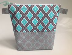 Turquoise and Grey Geometric Fabric Cosmetic Bag by sewmoira