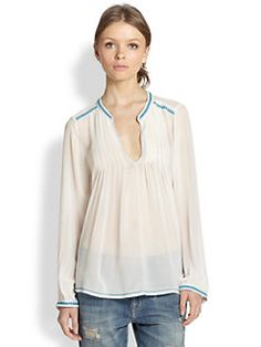 Joie - Kosame Silk Crepe Pintuck-Pleated Blouse