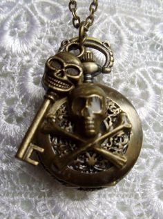 Skull and crossbones pocket watch pendant by Charsfavoritethings, $28.00
