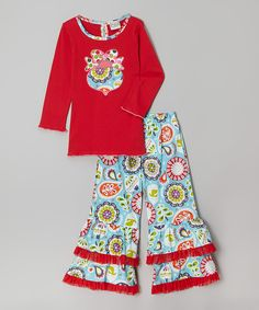 Look at this AnnLoren Red & Blue Ornament Tunic & Pants - Infant, Toddler & Girls on #zulily today!