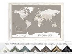 Elite framed push pin board featuring your custom quote: World map with Antarctica. Color combination: Light earth tones #MadeInUsa #HandmadeInUsa #CorkBoardBacking #FramedPushPinBoard #CaribbeanSea #HandmadeFramedPushPinBoard #AnniversaryGift #FramedCorkboard #CustomDesignedPrint #AnniversaryGiftIdea