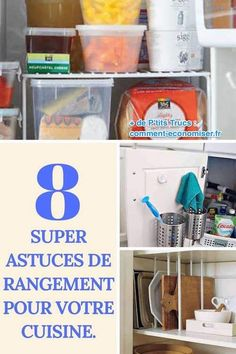 8 Super Astuces de Rangement Pour Votre Cuisine. Kitchen Cupboards, Organization, Deco, Mandala, Helpful Tips, Tips, Kitchen Cabinets, Getting Organized, Organisation