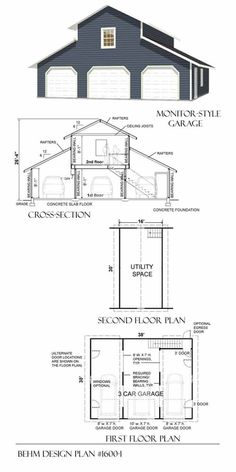 3 Car Monitor Garage With Loft Plan -1600-1 by Behm Design