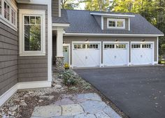 New Classic Coastal Home...like this garage...Low maintenance landscape...even low maintenence shingles