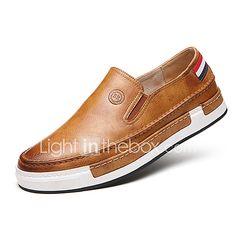de Hombre Gris On Confort de bajo Sintético Mocasines taco Otoño Cuero Primavera Amarillo Paseo Marrón Zapatos y Slip Británico FFxwqgr