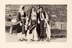 1908 Print Herzegovina Costume Dress Dubrovnik Ragusa Croatia Women Portrait Art