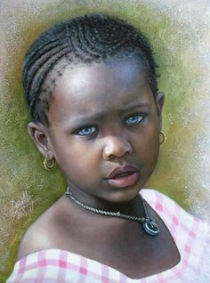 """Portraits of Innocence Collection: """"Young Girl from Africa"""" by Dora Alis - Oil on canvas Frida Art, Foto Poster, Natural Hair Art, Natural Beauty, Black Art Pictures, African Children, African Girl, African American Artist, Art Africain"""