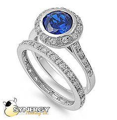 Silver-Round-Cut-Engagement-Wedding-Ring-Set-Blue-Sapphire-CZ-Sizes-5-6-7-8-9-10