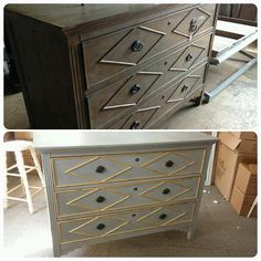 This great chest was painted with Amy Howard's One Step Paint in Atelier. We also gold leafed the trim which is just the right finishing touch! #enjoythebraggingrights  #rescuerestoreredecorate  #amyhoward