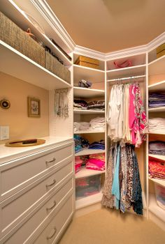 The crown-jewel of a St. Louis master bathroom remodel is the organized and beautiful walk-in closet. See more photos at: http://bit.ly/LoLzhK