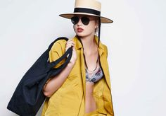 Outcome of TM design. A tech garbardine brass jacket with a twisted splash palm multi-color bikini top. Pair with Tomas Maier aviators and the perfect andalusia hat. #tomasmaier Model: Romee Strijd. Spring Summer 2016 - Look 21