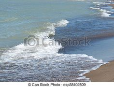 Waves lapping against the shoreline.